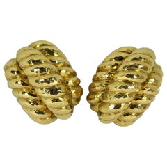 David Webb Twisted Rope Design Gold Clip On Earrings