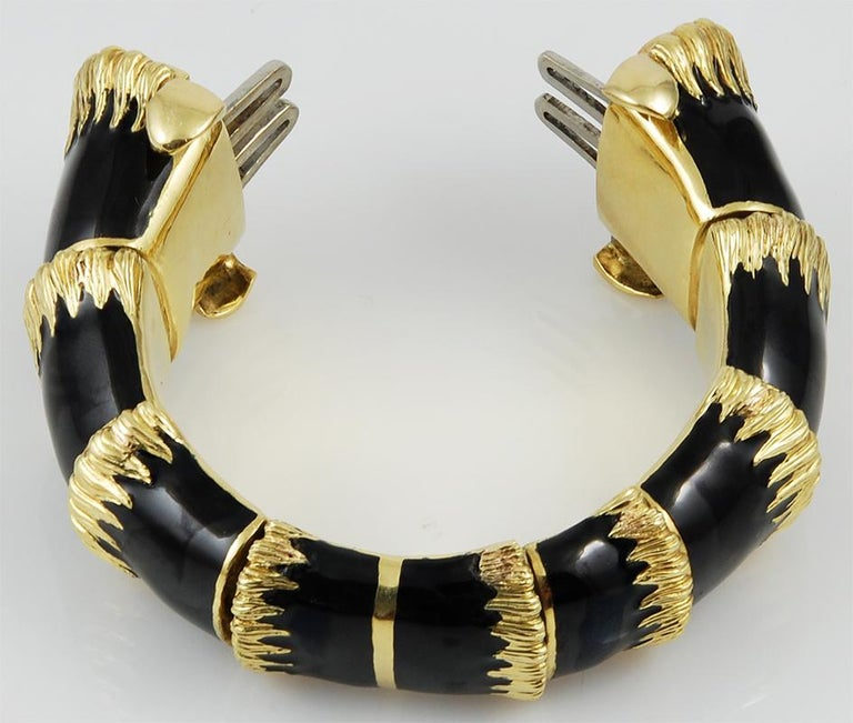 Women's or Men's David Webb Two Headed Lion Bangle with Extra Bracelet For Sale