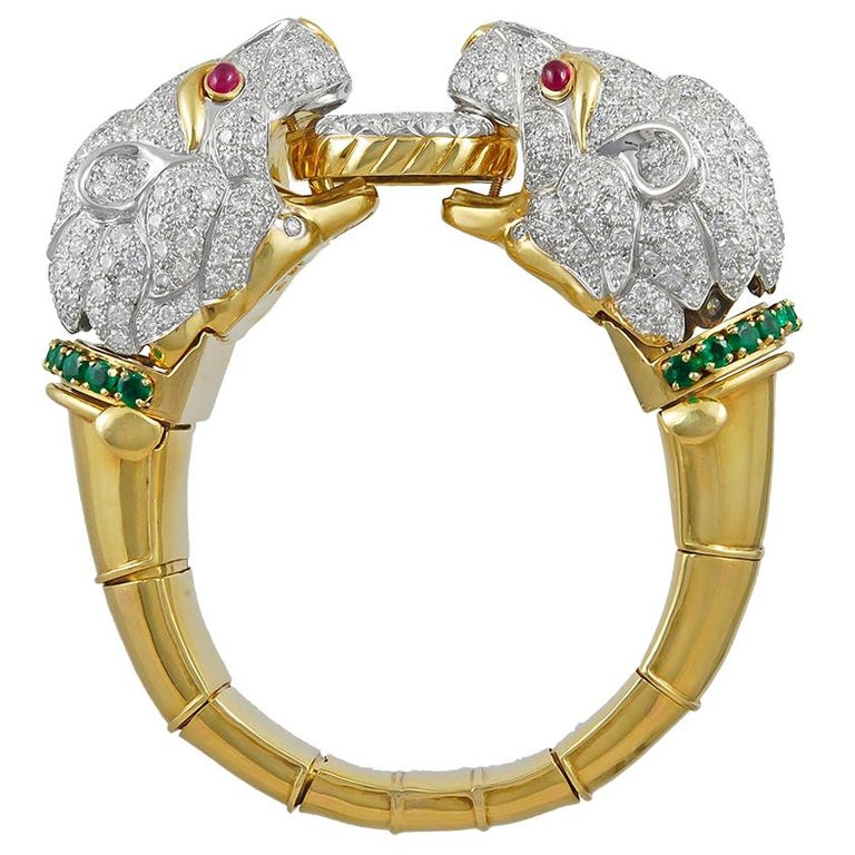 David Webb Two Headed Lion Bangle with Extra Bracelet For Sale