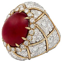 David Webb Diamond Ruby Bombe Cocktail Ring