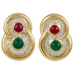 David Webb Two Tone Cabochon Ruby, Emerald, Diamond Earrings