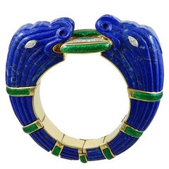 David Webb Two-Tone Diamond and Lapis Lazuli Bangle