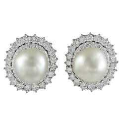 David Webb Two-Tone Diamond, Baroque Pearl Earrings