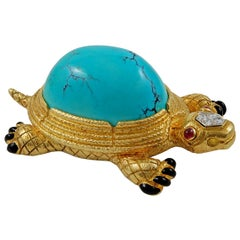 David Webb Two-Tone Diamond, Turquoise, Ruby Turtle Brooch