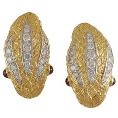 David Webb Two-Tone Diamond, Ruby Snake Head Earclips