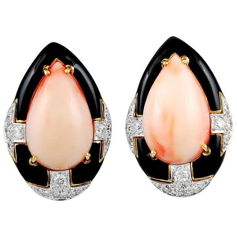 David Webb Angel Skin Coral Diamond Earrings For Sale