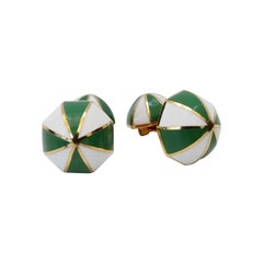 David Webb Unsigned 18k Gold Cufflinks With White & Green Striped Enamel