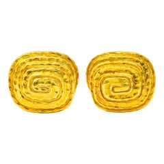 David Webb Vintage 18 Karat Gold Hammered Spiral Men's Cufflinks