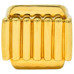 David Webb Vintage 18 Karat Yellow Gold Ridged Band Ring, circa 1960s
