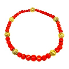 David Webb Vintage Coral Bead Yellow Gold Necklace