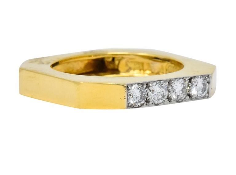 David Webb Vintage Diamond Platinum 18 Karat Gold Geometric Stacking Rings For Sale 4