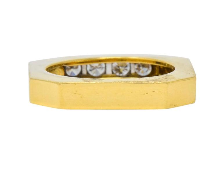 David Webb Vintage Diamond Platinum 18 Karat Gold Geometric Stacking Rings For Sale 6