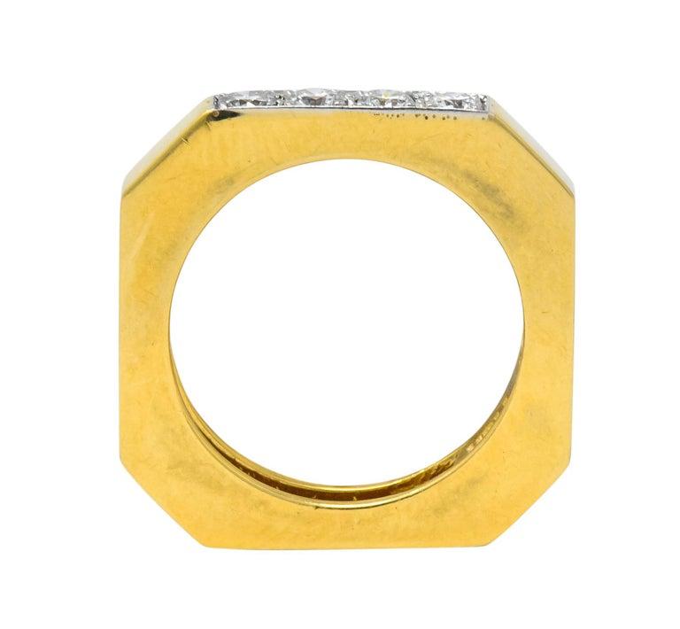 David Webb Vintage Diamond Platinum 18 Karat Gold Geometric Stacking Rings For Sale 7