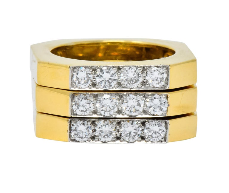 Designed as three high polished gold octagonal stacking rings  Each centering four round brilliant cut diamonds, bead set in platinum, weighing approximately 0.61 carat total, H/I color and VS clarity  Each signed Webb for David Webb with stamps for