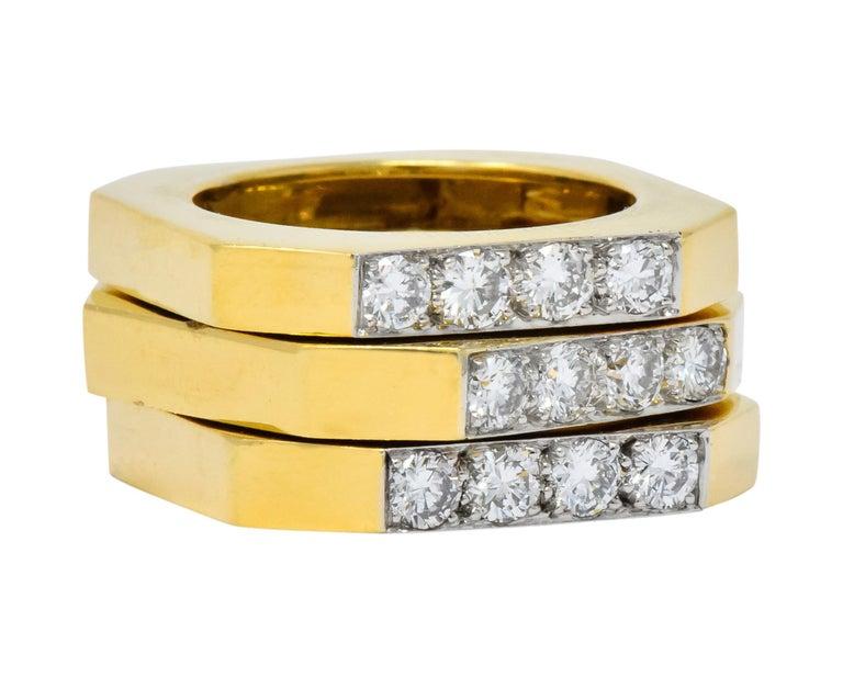 Modern David Webb Vintage Diamond Platinum 18 Karat Gold Geometric Stacking Rings For Sale
