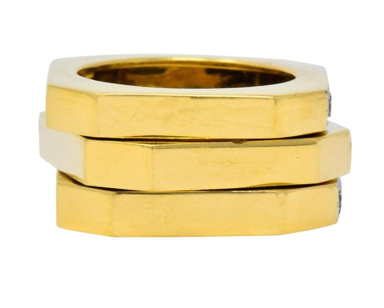 Round Cut David Webb Vintage Diamond Platinum 18 Karat Gold Geometric Stacking Rings For Sale