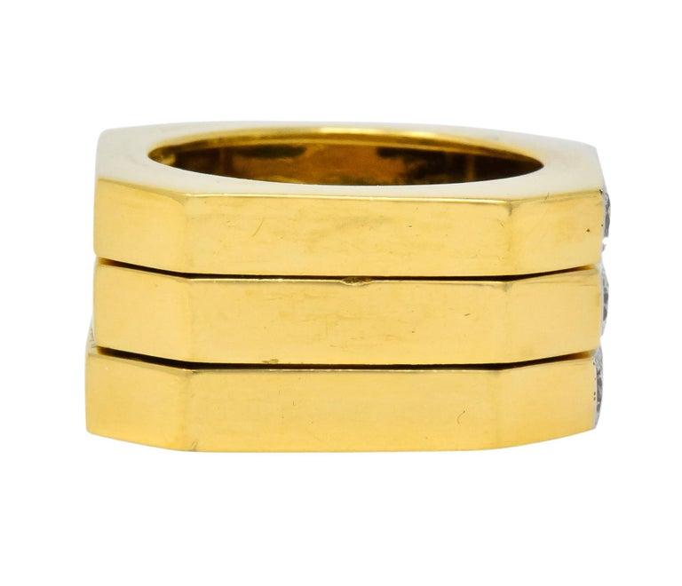 David Webb Vintage Diamond Platinum 18 Karat Gold Geometric Stacking Rings For Sale 1