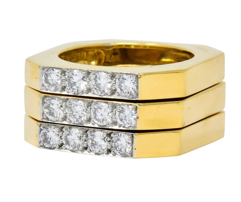 David Webb Vintage Diamond Platinum 18 Karat Gold Geometric Stacking Rings For Sale 2