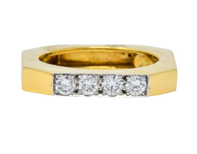 David Webb Vintage Diamond Platinum 18 Karat Gold Geometric Stacking Rings For Sale 3