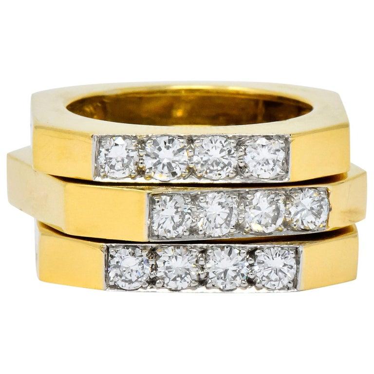 David Webb Vintage Diamond Platinum 18 Karat Gold Geometric Stacking Rings For Sale