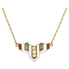 David Webb Vintage Enamel and Multi-Gemstone Necklace