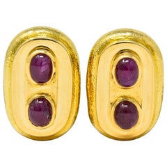 David Webb Vintage Ruby Cabochon 18 Karat Gold Ear-Clip Earrings, circa 1980