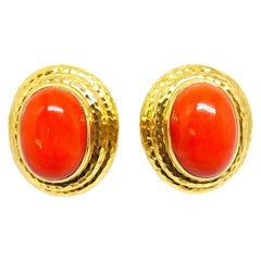 David Webb Vintage Yellow Gold Coral Clip-On Earrings