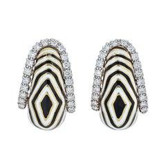 David Webb Vreeland Diamond Zebra Black & White Enamel Earrings