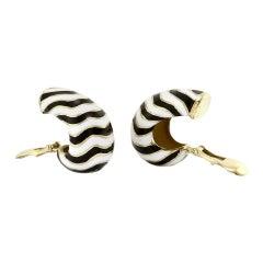 David Webb White and Black Kingdom Enamel Zebra In 18 Karat Gold Earrings