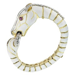 David Webb White Diamond Ruby Enamel Gold Platinum Horse Bracelet