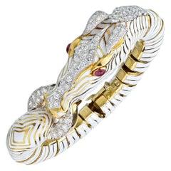 David Webb White Diamond Ruby Enamel Gold Platinum Zebra Bracelet