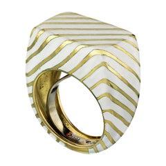 David Webb White Enamel 18 Karat Yellow Gold Striped Pinky Ring