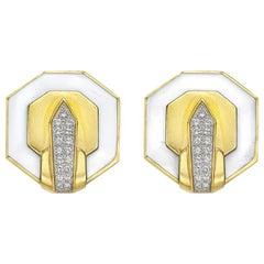 David Webb White Enamel and Diamond Octagonal Earclips