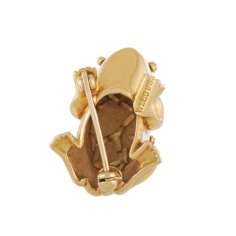 David Webb White Enamel Frog Brooch Set with Diamond Eyes in 18K Yellow Gold For Sale 6