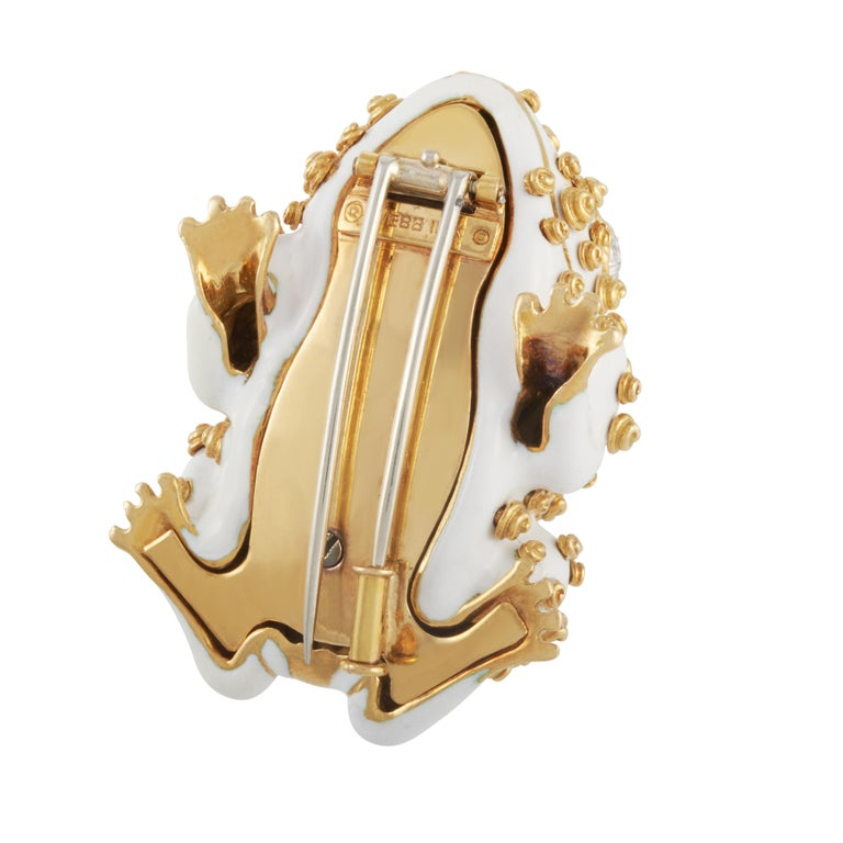 Women's or Men's David Webb White Enamel Frog Brooch Set with Diamond Eyes in 18K Yellow Gold For Sale