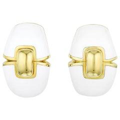 David Webb White Enamel Platinum and 18 Karat Yellow Gold Clip-On Earrings