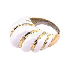 David Webb White Enamel Ring
