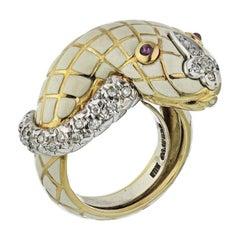 David Webb White Enamel Ruby Yellow Gold Diamond Snake Ladies Ring