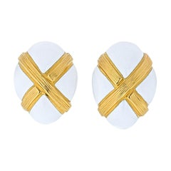 David Webb White Enamel Textured X Clip Earrings