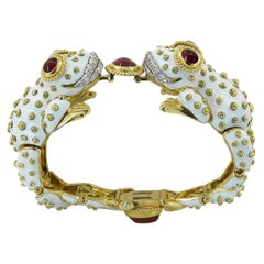 David Webb White Enamel Two Head Frog Bangle