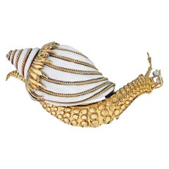 David Webb White Enamel Vintage Studded Snail 0.10 Carat Diamond Brooch Pin