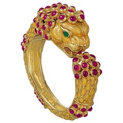 David Webb Yellow Enamel Ruby Gold Lion Bangle Bracelet