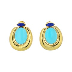 David Webb Yellow Gold 18 Karat Oval Cabochon Turquoise Marquise Lapis Earrings