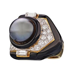David Webb Yellow Gold 18 Karat Tahitian Cultured Pearl Diamond Black Onyx Ring