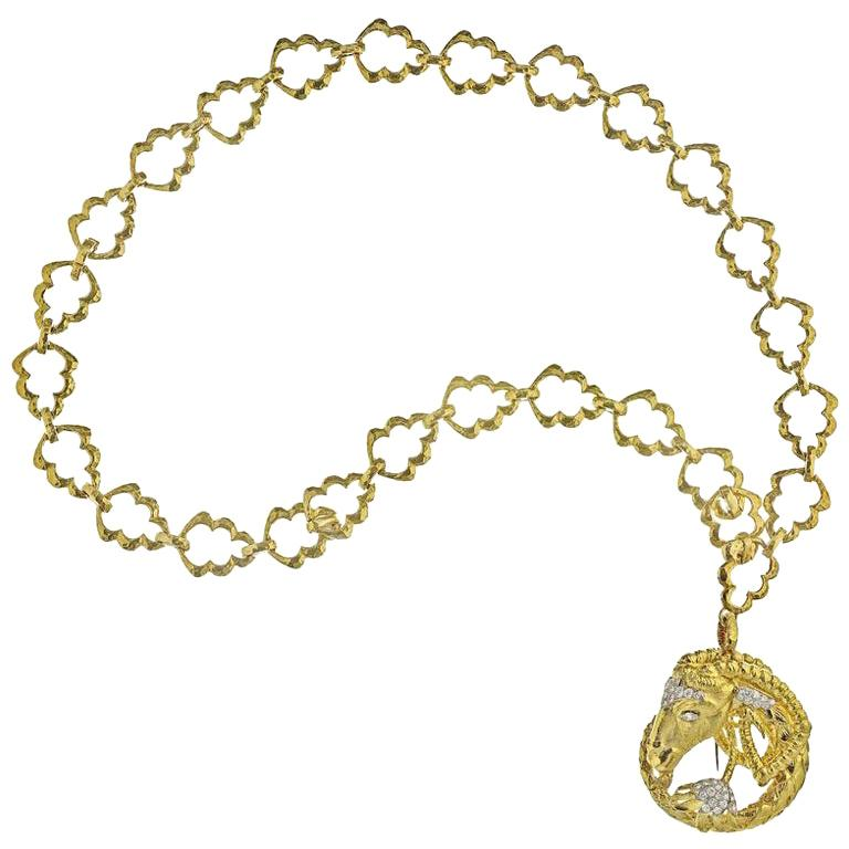 David Webb Yellow Gold Aires Zodiac Brooch Pendant on a Chain Necklace