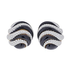 David Webb Yellow Gold and Platinum Black Enamel Diamond Stripe Earrings