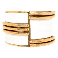 David Webb Yellow Gold and White Enamel Bombe Ring