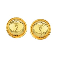 David Webb Yellow Gold Ball Hammered Finish Round Clip-On Earrings
