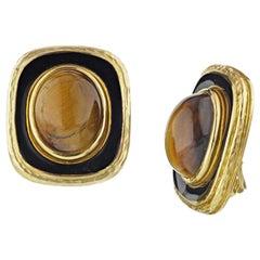David Webb Yellow Gold Cat's Eye Black Enamel Clip-On Earrings