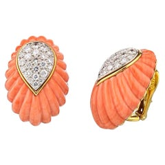 David Webb Yellow Gold Coral and Diamond Vintage Clip-On Earrings